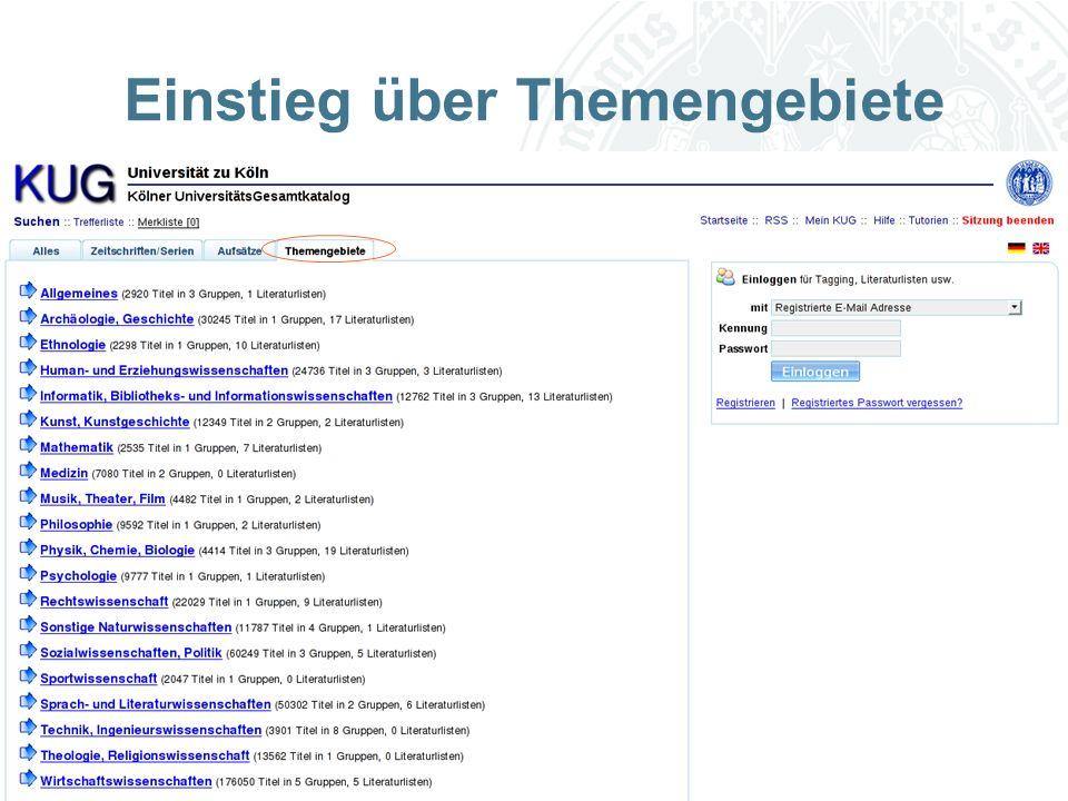 Universität zu Köln Einstieg über Themengebiete