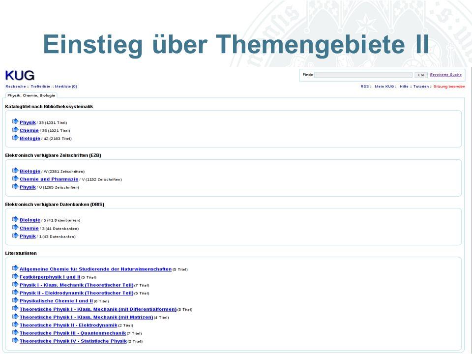 Universität zu Köln Einstieg über Themengebiete II