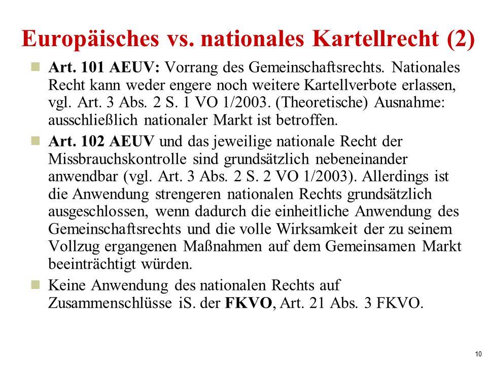 10 Europäisches vs. nationales Kartellrecht (2) Art.