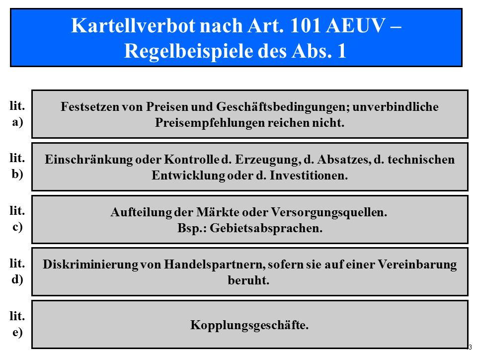 13 Kartellverbot nach Art. 101 AEUV – Regelbeispiele des Abs.