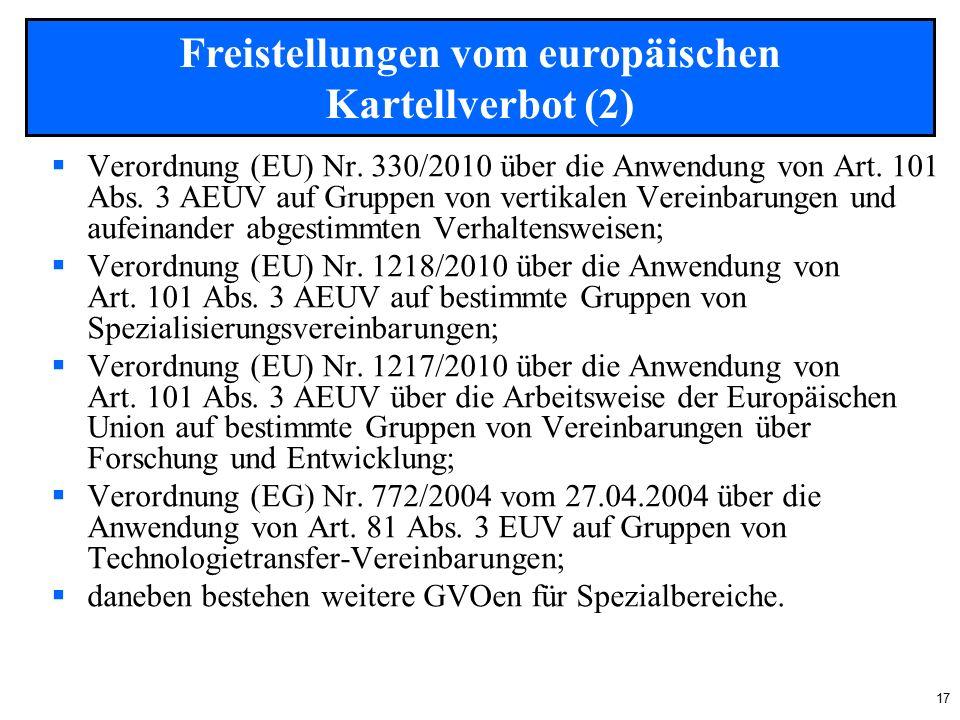 17  Verordnung (EU) Nr. 330/2010 über die Anwendung von Art.