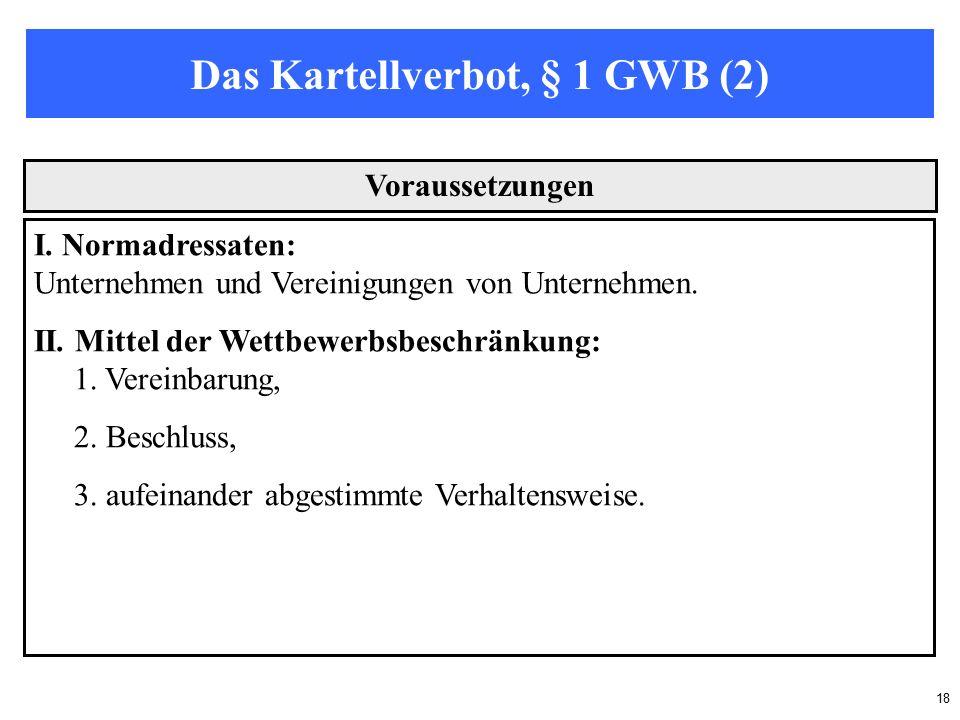 18 Das Kartellverbot, § 1 GWB (2) Voraussetzungen I.