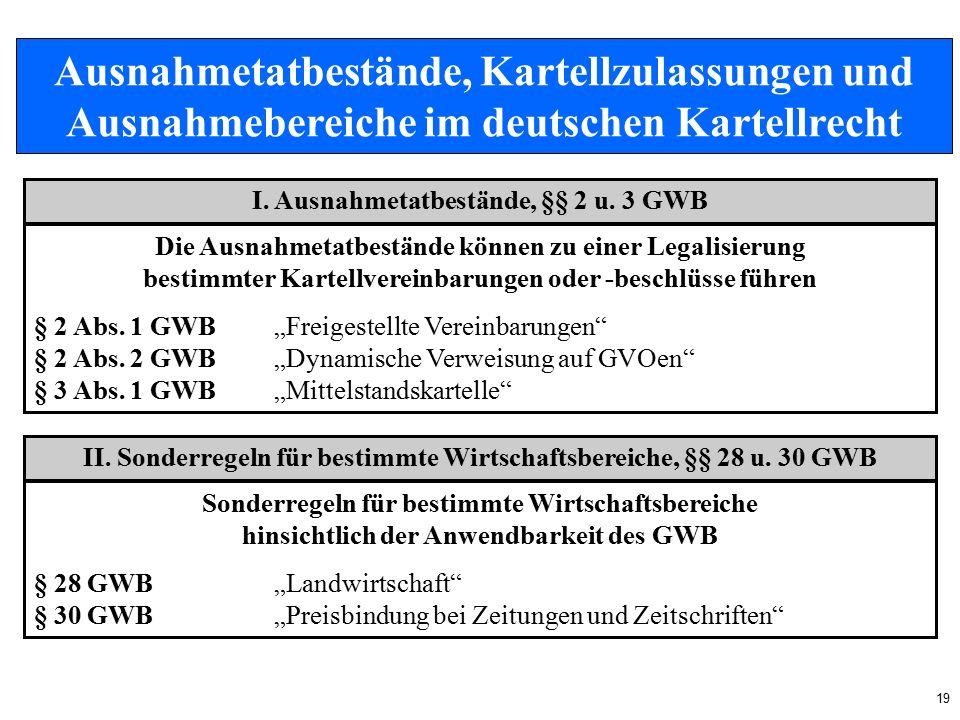 19 Ausnahmetatbestände, Kartellzulassungen und Ausnahmebereiche im deutschen Kartellrecht I.