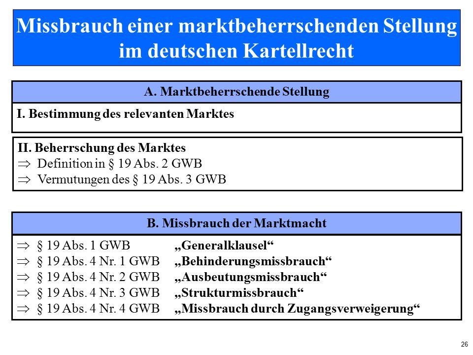 26 Missbrauch einer marktbeherrschenden Stellung im deutschen Kartellrecht A.