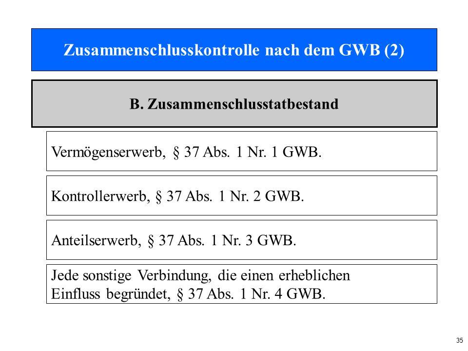 35 Zusammenschlusskontrolle nach dem GWB (2) B.