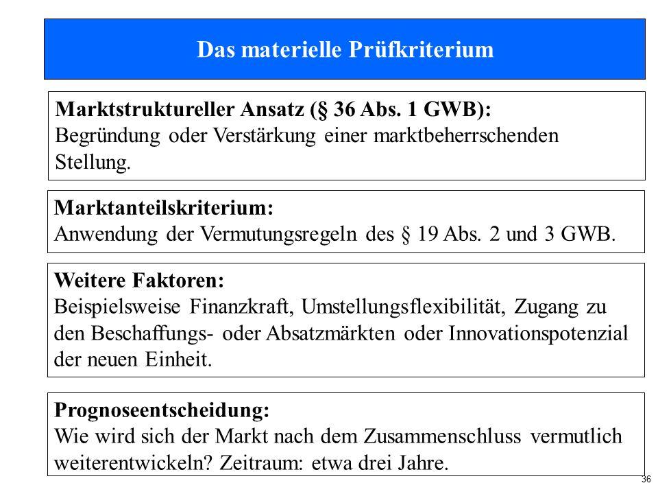 36 Das materielle Prüfkriterium Marktstruktureller Ansatz (§ 36 Abs.