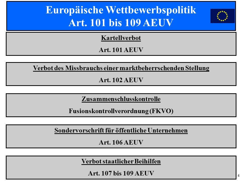 4 Europäische Wettbewerbspolitik Art. 101 bis 109 AEUV Kartellverbot Art.