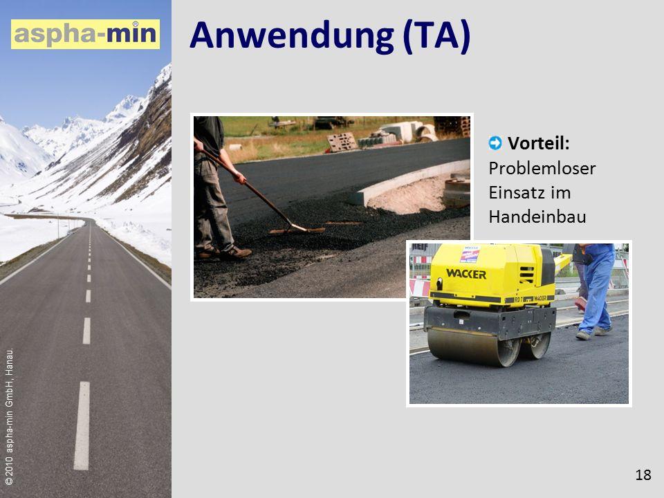 © 2010 aspha-min GmbH, Hanau. Anwendung (TA) Vorteil: Problemloser Einsatz im Handeinbau 18
