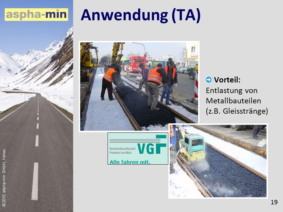 © 2010 aspha-min GmbH, Hanau. Anwendung (TA) Vorteil: Entlastung von Metallbauteilen (z.B.