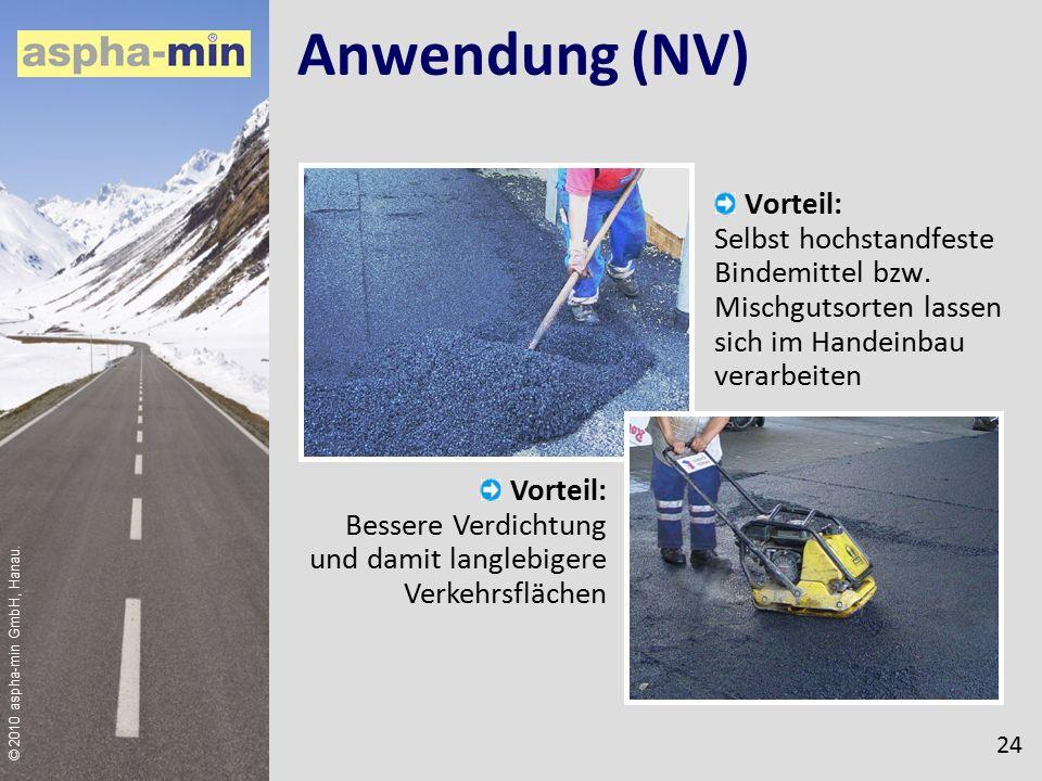 © 2010 aspha-min GmbH, Hanau. Anwendung (NV) Vorteil: Selbst hochstandfeste Bindemittel bzw.