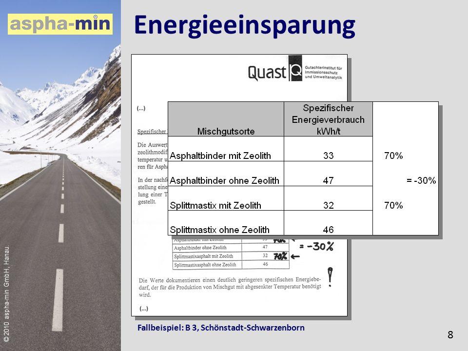 © 2010 aspha-min GmbH, Hanau. Energieeinsparung Fallbeispiel: B 3, Schönstadt-Schwarzenborn 8