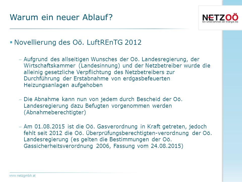 www.netzgmbh.at  Novellierung des Oö. LuftREnTG 2012 Aufgrund des allseitigen Wunsches der Oö.