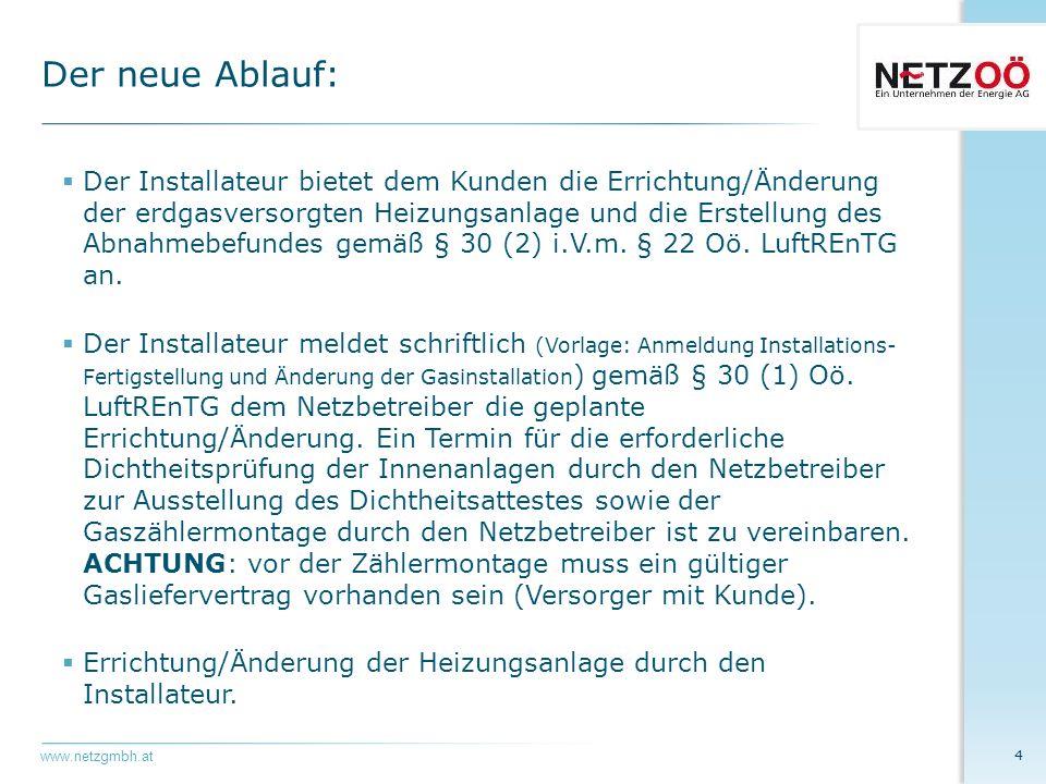 www.netzgmbh.at  Ausstellung des Dichtheitsattestes und Montage des Erdgaszählers durch den Netzbetreiber zum Zwecke der Einstellung und Prüfung der erdgasversorgten Anlagen (Probebetrieb).