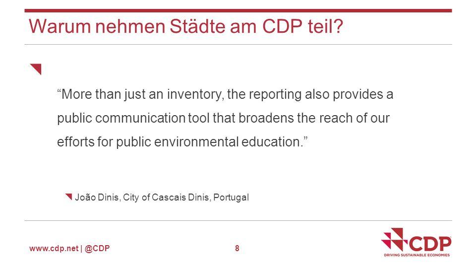 www.cdp.net | @CDP Datenauswertung - Cities Analytics 19  Interaktives Daten-Portal mit dem gesamten CDP Städte-Datenset  Vergleich mit Städten Ihrer Wahl  Wissensspeicher  Individuelles Feedback