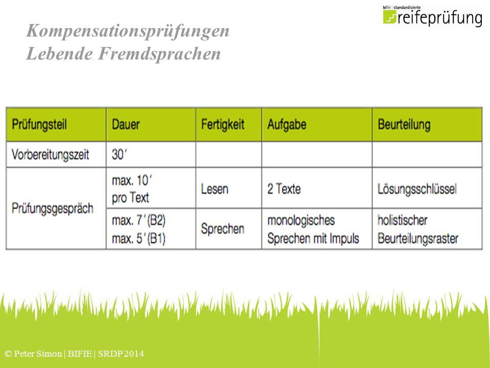 © Peter Simon | BIFIE | SRDP 2014 Kompensationsprüfungen Lebende Fremdsprachen