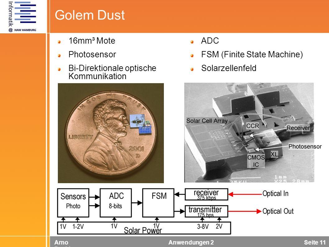Arno Davids Anwendungen 2 Seite 11 Golem Dust 16mm³ Mote Photosensor Bi-Direktionale optische Kommunikation ADC FSM (Finite State Machine) Solarzellen
