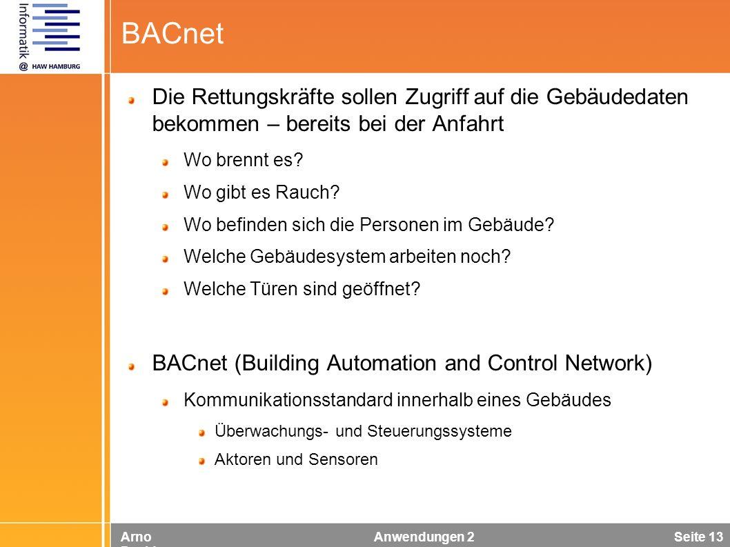 Arno Davids Anwendungen 2 Seite 13 BACnet Die Rettungskräfte sollen Zugriff auf die Gebäudedaten bekommen – bereits bei der Anfahrt Wo brennt es? Wo g