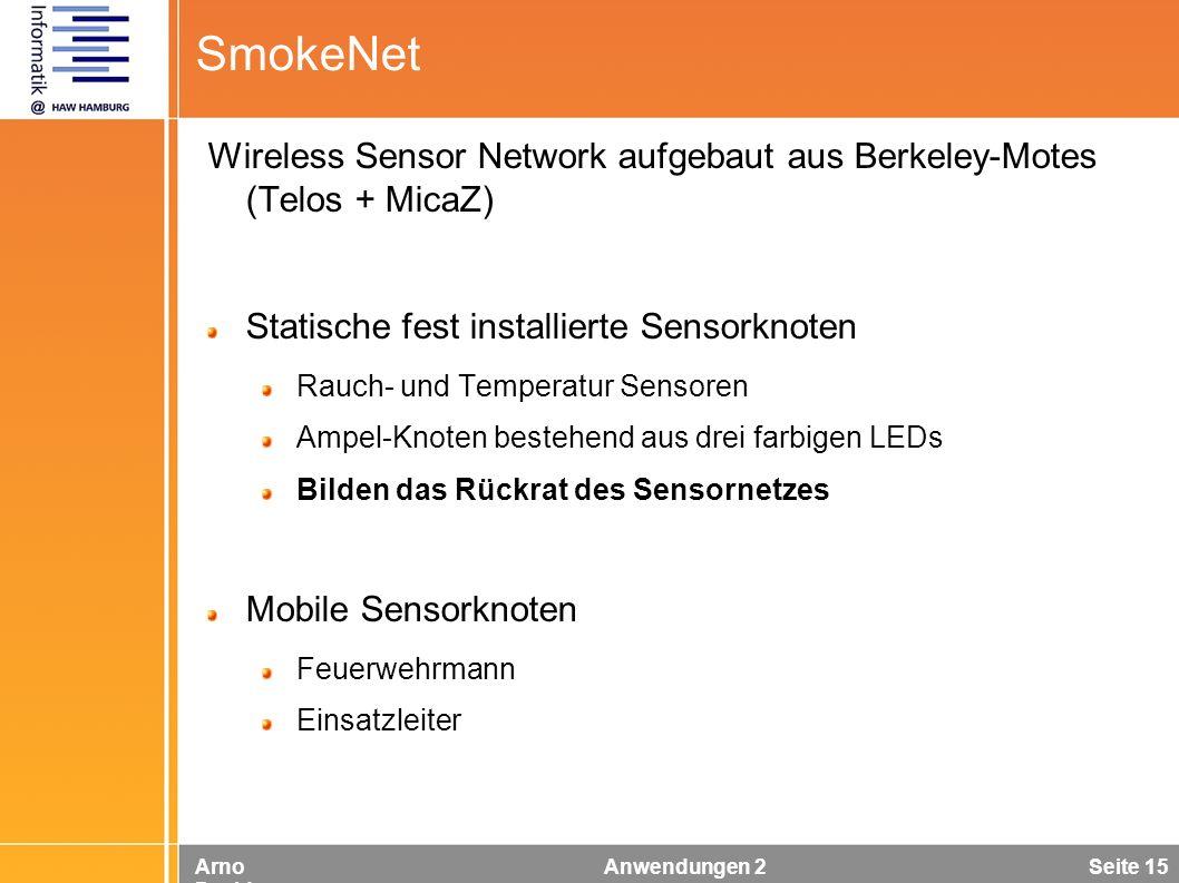 Arno Davids Anwendungen 2 Seite 15 SmokeNet Wireless Sensor Network aufgebaut aus Berkeley-Motes (Telos + MicaZ) Statische fest installierte Sensorkno