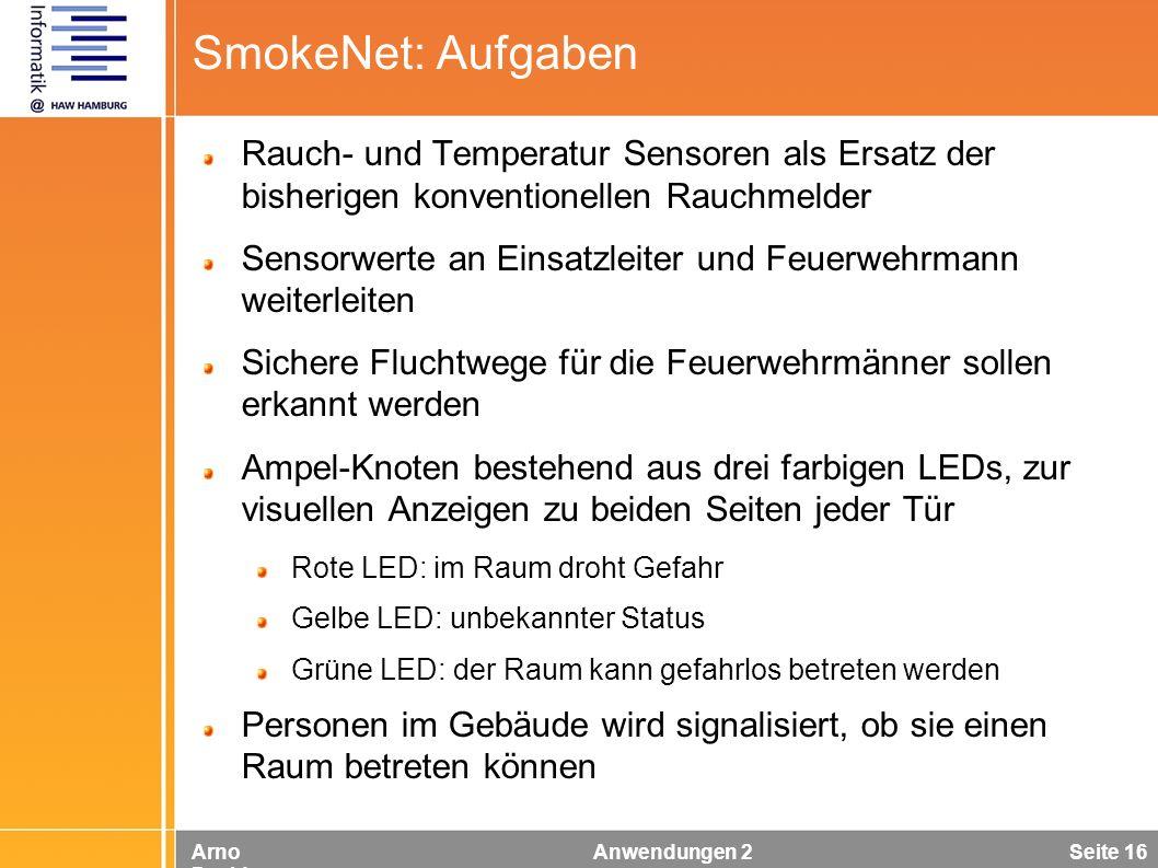 Arno Davids Anwendungen 2 Seite 16 SmokeNet: Aufgaben Rauch- und Temperatur Sensoren als Ersatz der bisherigen konventionellen Rauchmelder Sensorwerte