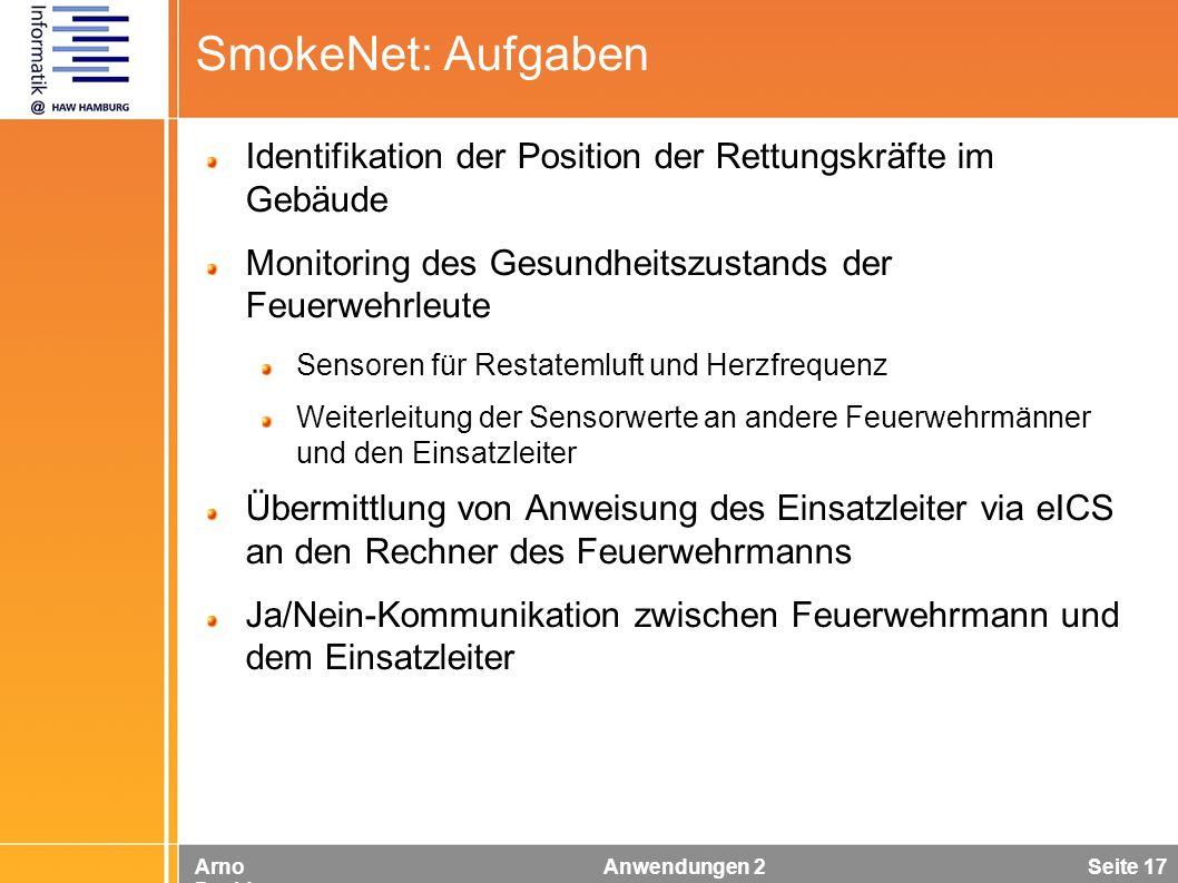 Arno Davids Anwendungen 2 Seite 17 SmokeNet: Aufgaben Identifikation der Position der Rettungskräfte im Gebäude Monitoring des Gesundheitszustands der
