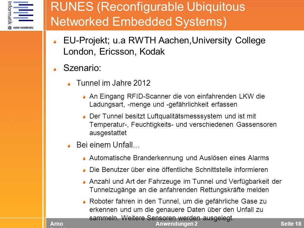 Arno Davids Anwendungen 2 Seite 18 RUNES (Reconfigurable Ubiquitous Networked Embedded Systems) EU-Projekt; u.a RWTH Aachen,University College London,