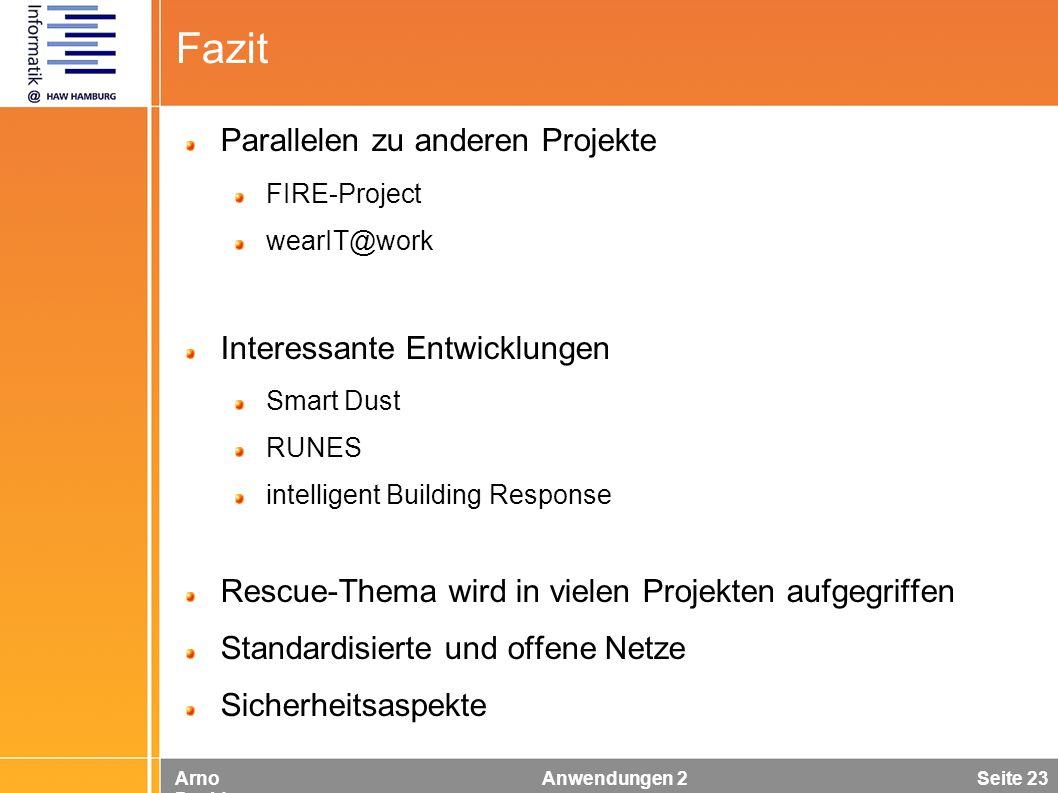 Arno Davids Anwendungen 2 Seite 23 Fazit Parallelen zu anderen Projekte FIRE-Project wearIT@work Interessante Entwicklungen Smart Dust RUNES intellige
