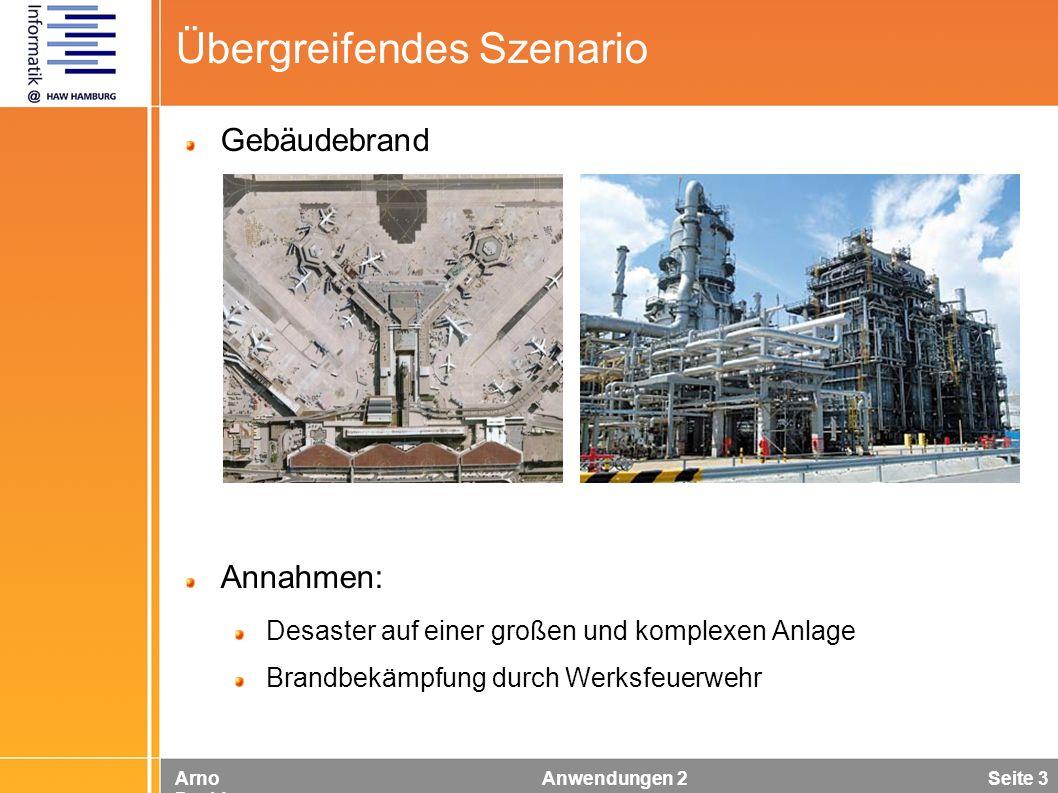 Arno Davids Anwendungen 2 Seite 3 Übergreifendes Szenario Gebäudebrand Annahmen: Desaster auf einer großen und komplexen Anlage Brandbekämpfung durch
