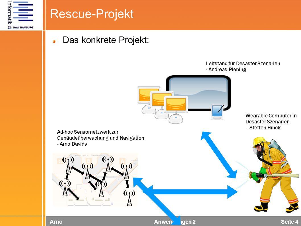 Arno Davids Anwendungen 2 Seite 4 Rescue-Projekt Ad-hoc Sensornetzwerk zur Gebäudeüberwachung und Navigation - Arno Davids Leitstand für Desaster Szen