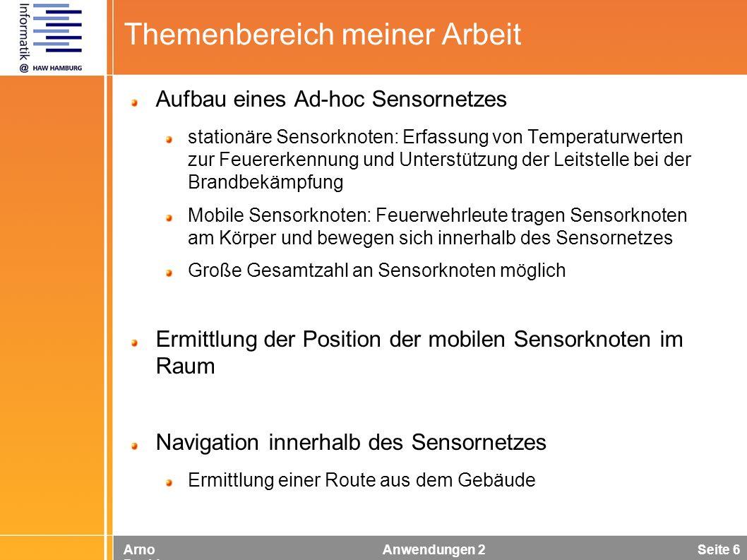 Arno Davids Anwendungen 2 Seite 6 Themenbereich meiner Arbeit Aufbau eines Ad-hoc Sensornetzes stationäre Sensorknoten: Erfassung von Temperaturwerten