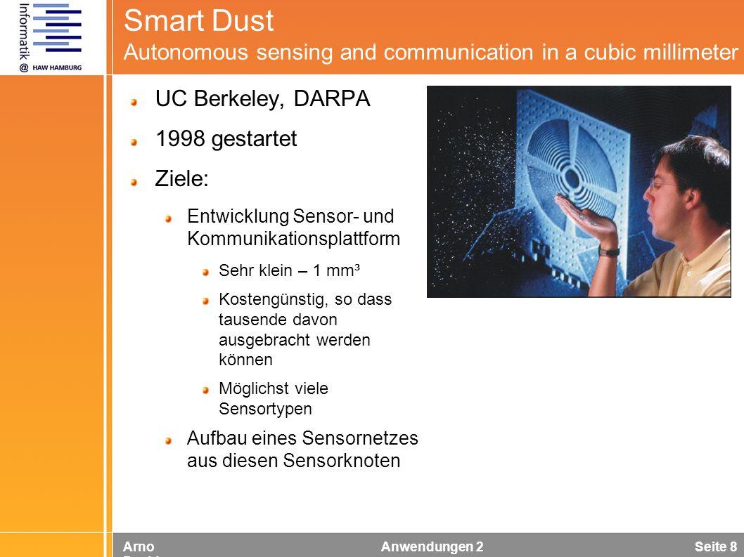 Arno Davids Anwendungen 2 Seite 8 Smart Dust Autonomous sensing and communication in a cubic millimeter UC Berkeley, DARPA 1998 gestartet Ziele: Entwi