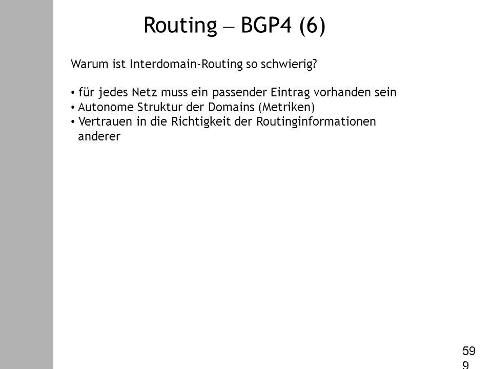Datenkommunikation – V. Internet Protokoll Warum ist Interdomain-Routing so schwierig.