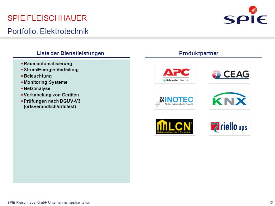 SPIE Fleischhauer GmbH Unternehmenspräsentation 13 SPIE FLEISCHHAUER Portfolio: Elektrotechnik  Raumautomatisierung  Strom/Energie Verteilung  Beleuchtung  Monitoring Systeme  Netzanalyse  Verkabelung von Geräten  Prüfungen nach DGUV-V3 (ortsverändlich/ortsfest) Produktpartner Liste der Dienstleistungen