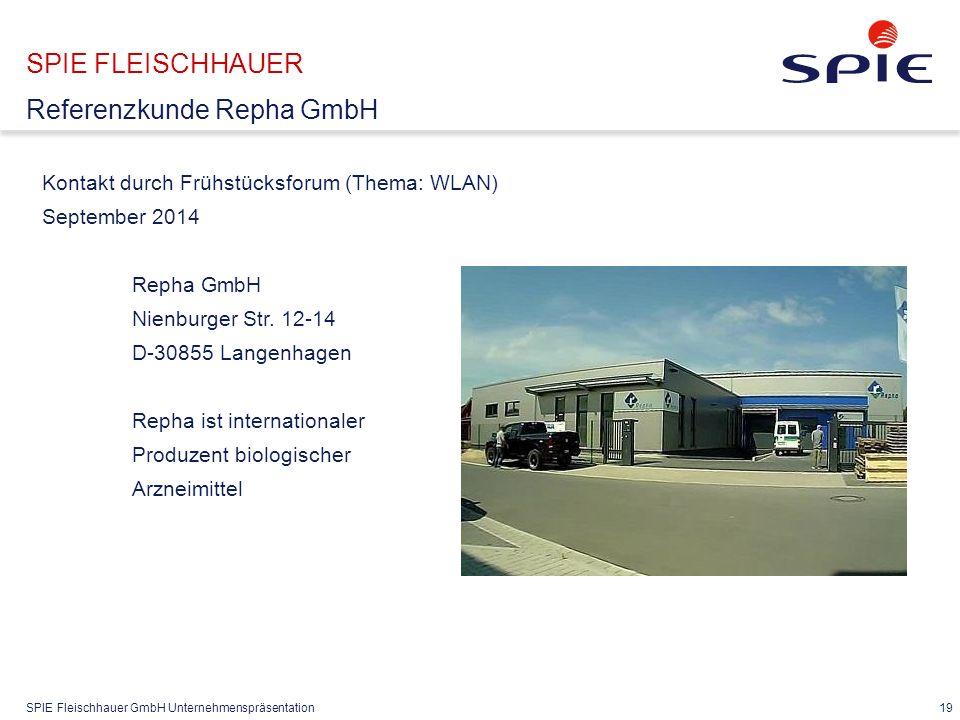 SPIE Fleischhauer GmbH Unternehmenspräsentation 19 Kontakt durch Frühstücksforum (Thema: WLAN) September 2014 Repha GmbH Nienburger Str.