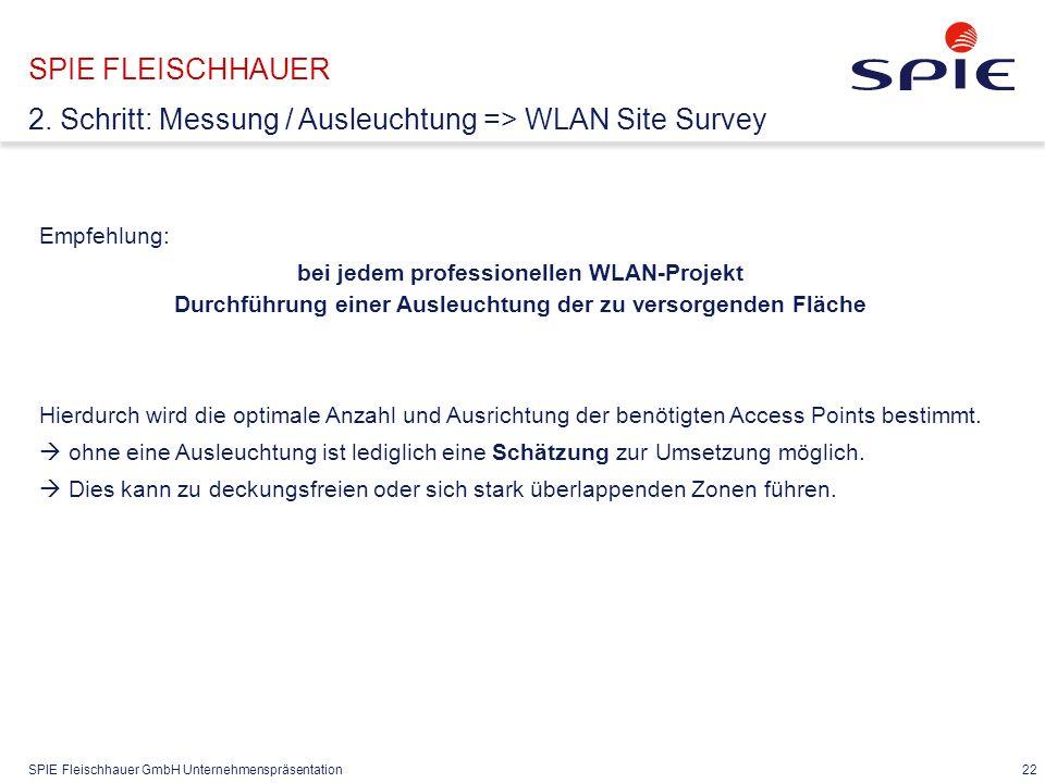 SPIE Fleischhauer GmbH Unternehmenspräsentation 22 Empfehlung: bei jedem professionellen WLAN-Projekt Durchführung einer Ausleuchtung der zu versorgenden Fläche Hierdurch wird die optimale Anzahl und Ausrichtung der benötigten Access Points bestimmt.
