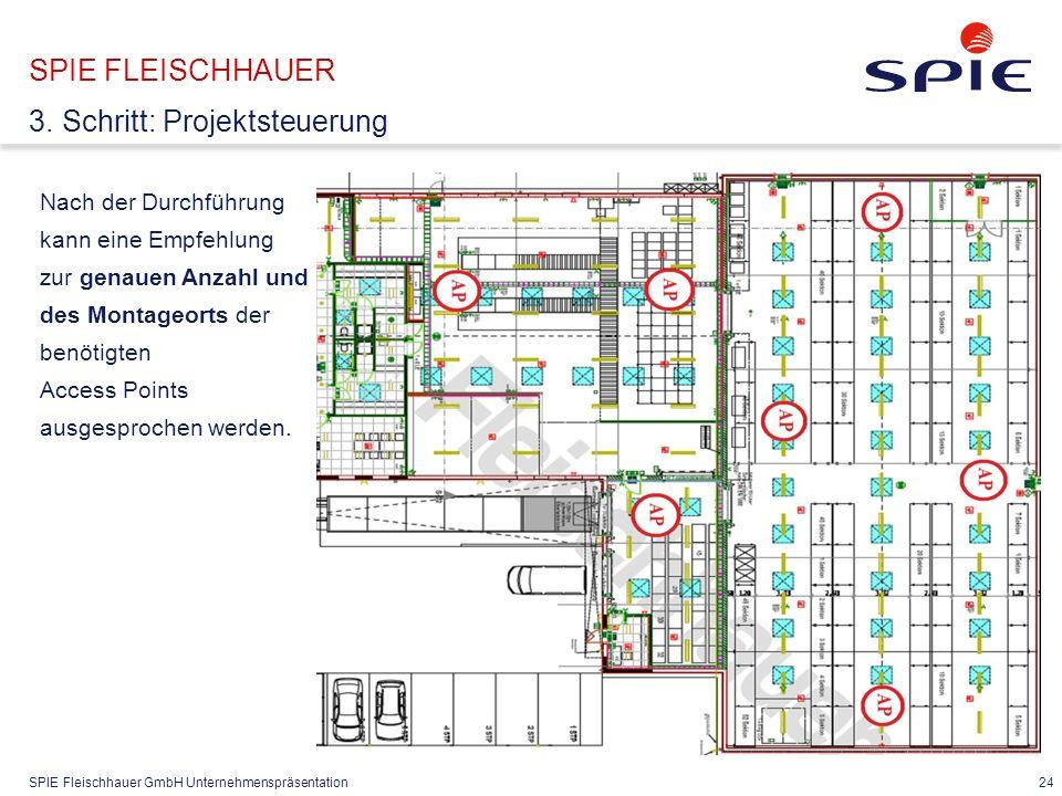 SPIE Fleischhauer GmbH Unternehmenspräsentation 24 Nach der Durchführung kann eine Empfehlung zur genauen Anzahl und des Montageorts der benötigten Access Points ausgesprochen werden.