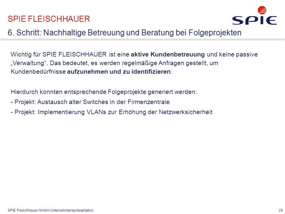 """SPIE Fleischhauer GmbH Unternehmenspräsentation 28 Wichtig für SPIE FLEISCHHAUER ist eine aktive Kundenbetreuung und keine passive """"Verwaltung ."""