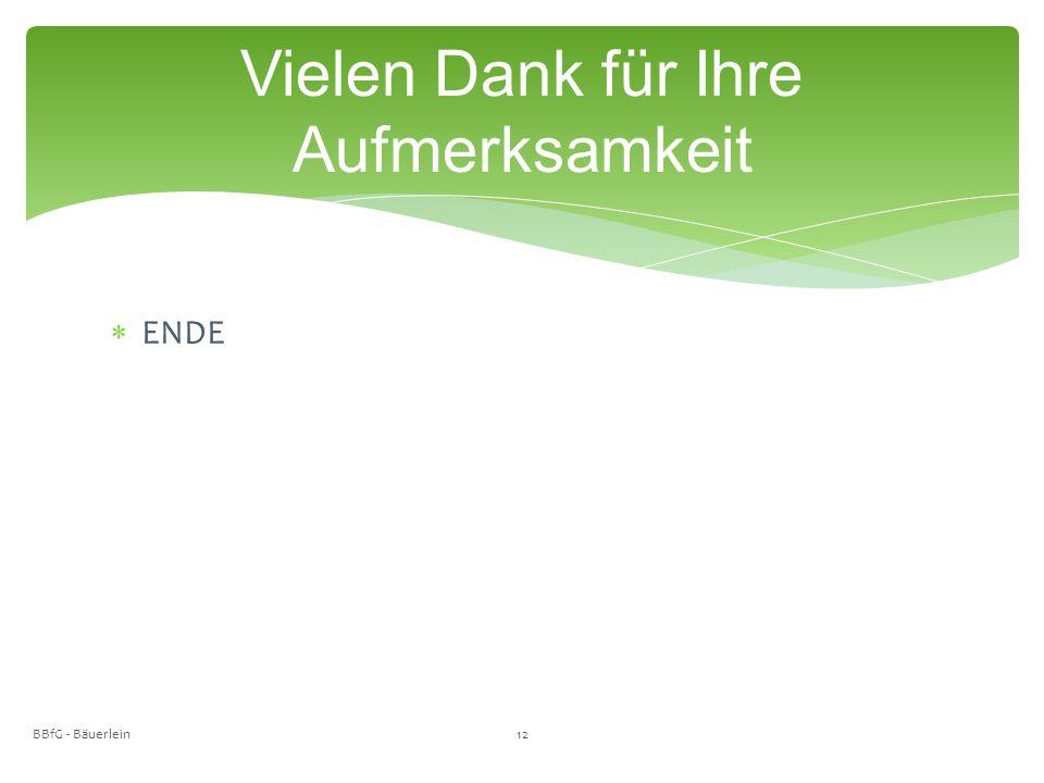  ENDE Vielen Dank für Ihre Aufmerksamkeit BBfG - Bäuerlein12