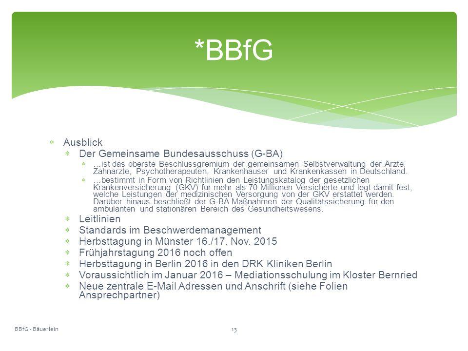  Ausblick  Der Gemeinsame Bundesausschuss (G-BA)  …ist das oberste Beschlussgremium der gemeinsamen Selbstverwaltung der Ärzte, Zahnärzte, Psychotherapeuten, Krankenhäuser und Krankenkassen in Deutschland.