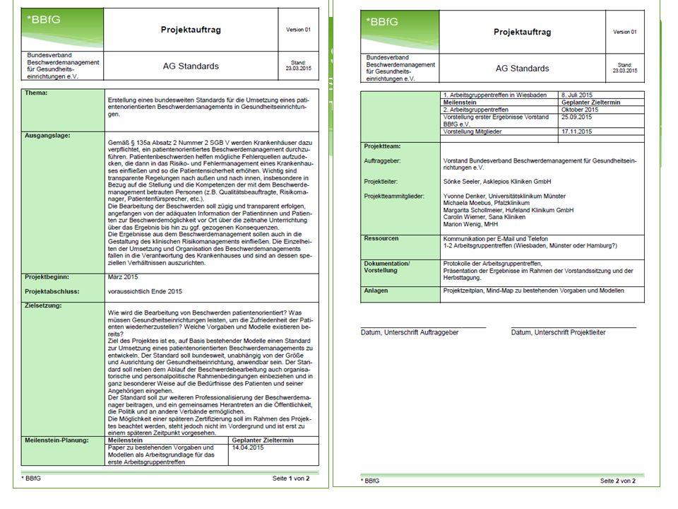 Aktuelles Projekt Erstellung eines bundesweiten Standards für die Umsetzung eines patientenorientierten Beschwerdemanagements in Gesundheitseinrichtungen BBfG - Bäuerlein7