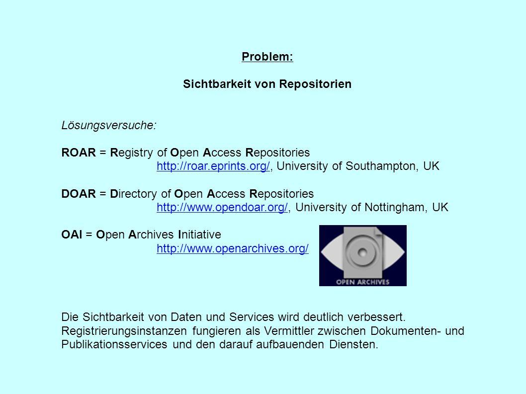 Problem: Sichtbarkeit von Repositorien Lösungsversuche: ROAR = Registry of Open Access Repositories http://roar.eprints.org/http://roar.eprints.org/,