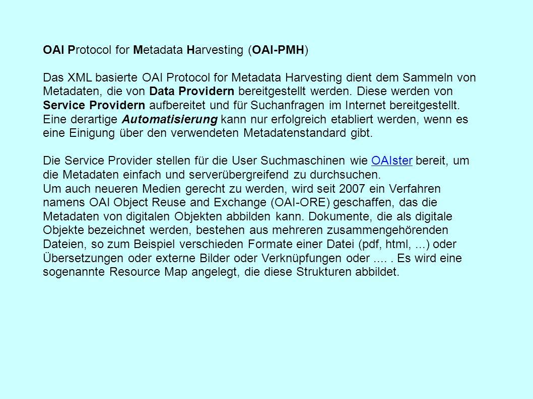 OAI Protocol for Metadata Harvesting (OAI-PMH) Das XML basierte OAI Protocol for Metadata Harvesting dient dem Sammeln von Metadaten, die von Data Pro