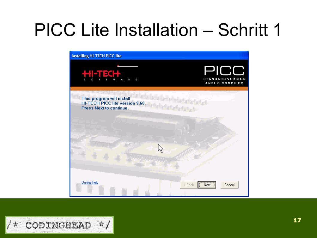17 PICC Lite Installation – Schritt 1