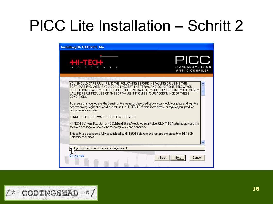 18 PICC Lite Installation – Schritt 2