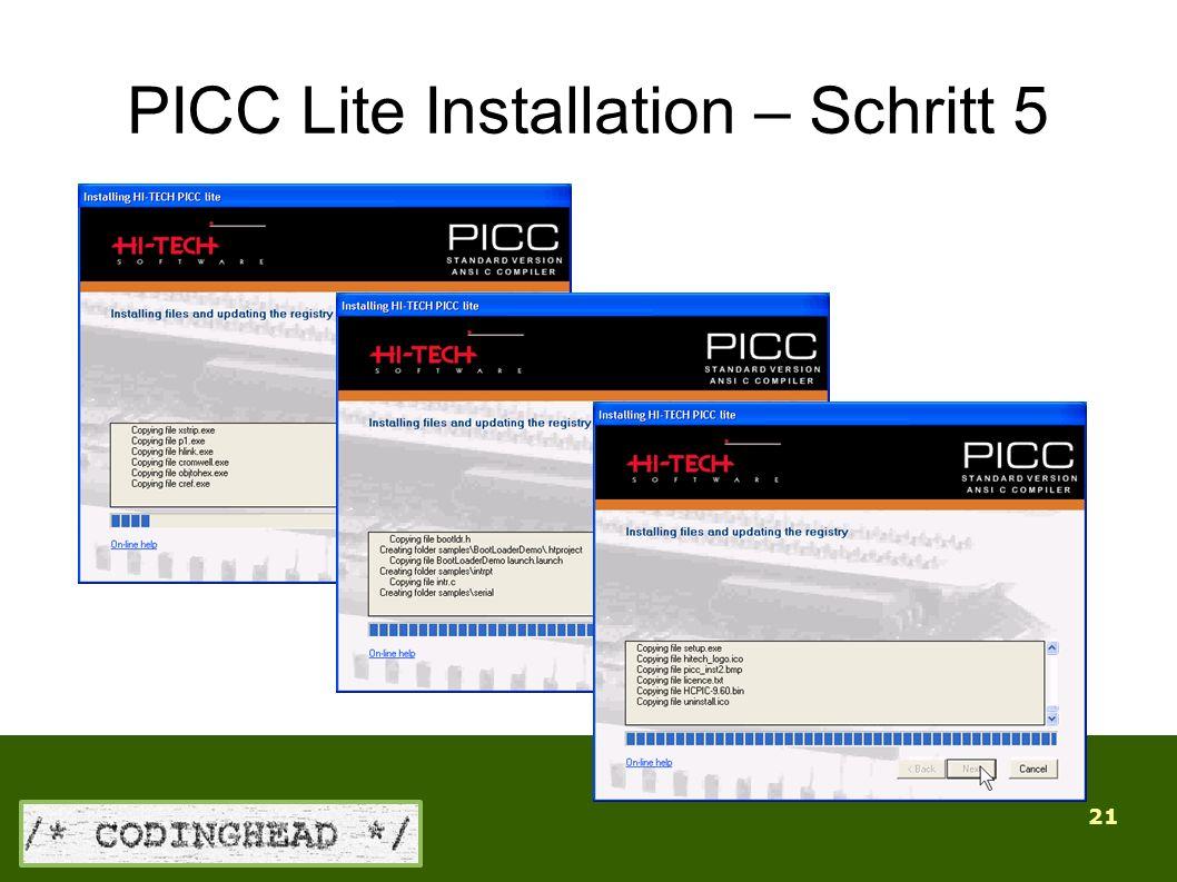 21 PICC Lite Installation – Schritt 5