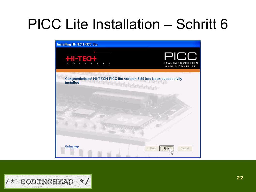 22 PICC Lite Installation – Schritt 6