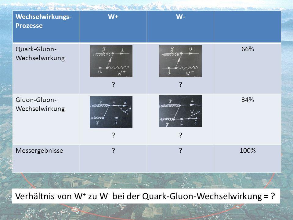 Wechselwirkungs- Prozesse W+W- Quark-Gluon- Wechselwirkung ?.