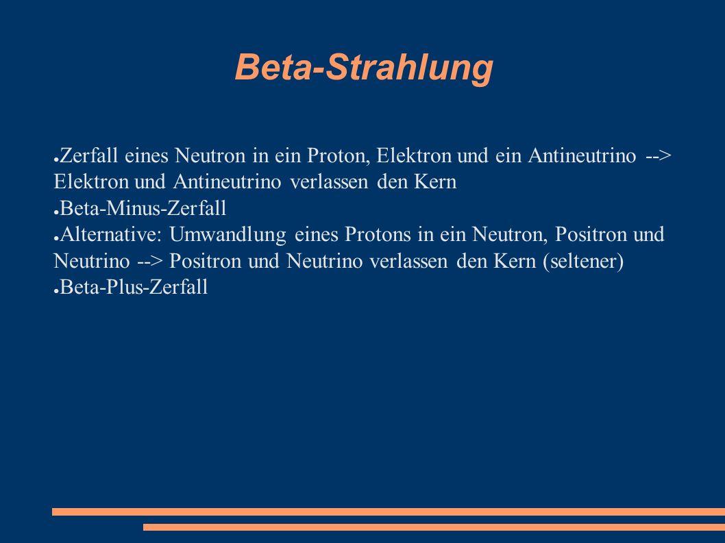 Beta-Strahlung ● Zerfall eines Neutron in ein Proton, Elektron und ein Antineutrino --> Elektron und Antineutrino verlassen den Kern ● Beta-Minus-Zerf