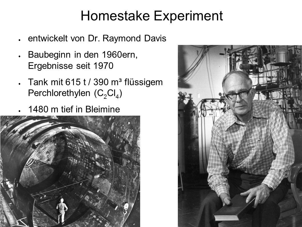 ● erste Ergebnisse 1970 ● Reaktion: e + 37 Cl → e - + 37 Ar Schwellenenergie 814 keV => hauptsächlich 8 B-Neutrinos Extraktion von 37 Ar: ● kleine Menge Trägergas aus 36 Ar od.