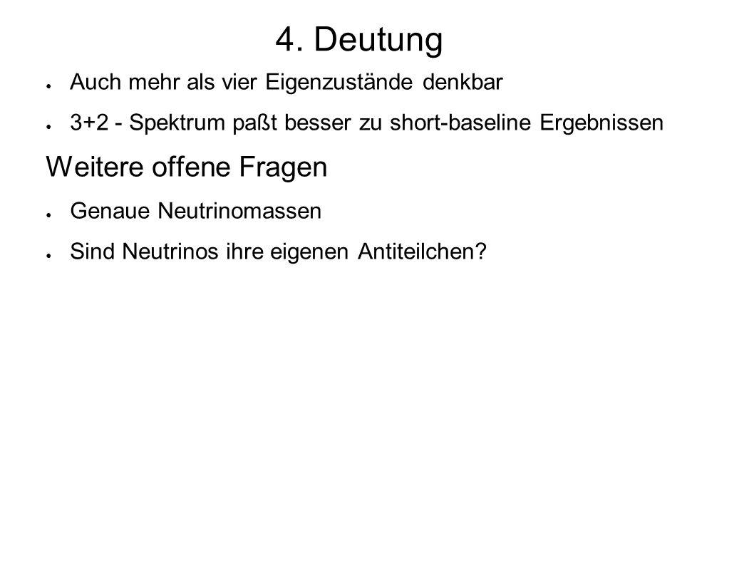 ● Auch mehr als vier Eigenzustände denkbar ● 3+2 - Spektrum paßt besser zu short-baseline Ergebnissen Weitere offene Fragen ● Genaue Neutrinomassen ● Sind Neutrinos ihre eigenen Antiteilchen.