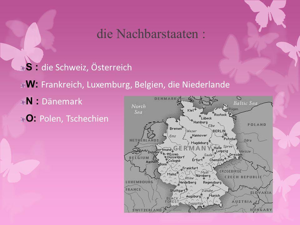 die Nachbarstaaten : S : die Schweiz, Österreich W: Frankreich, Luxemburg, Belgien, die Niederlande N : Dänemark O: Polen, Tschechien